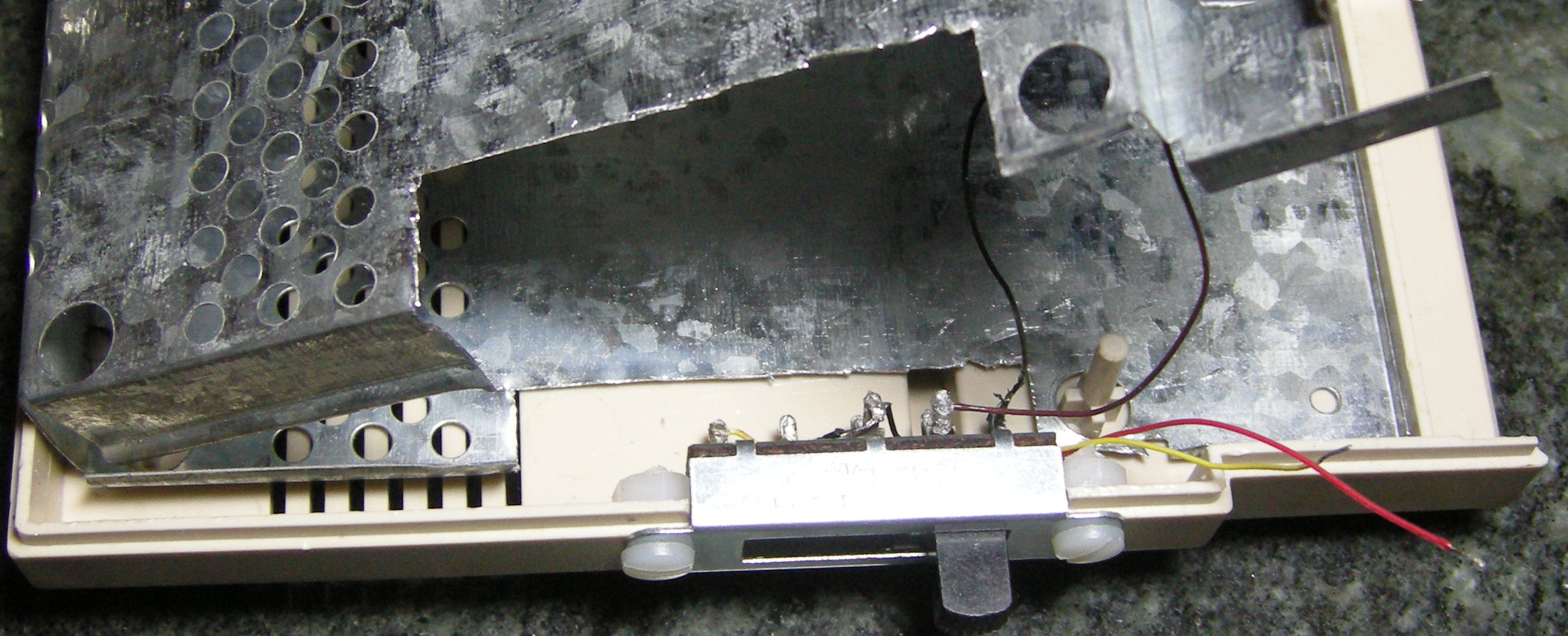 Top view, showing modification to RFI cage